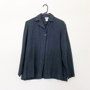 Eileen Fisher Linen Blend Black Blazer